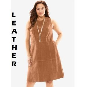 NWT 14W Leather A-line dress